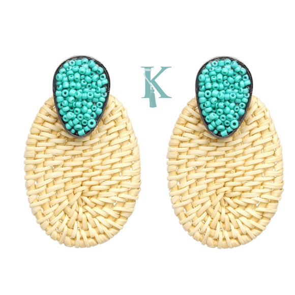 OVAL RATTAN EARRINGS