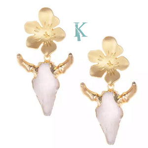 BULLHEAD N FLOWERS EARRINGS