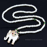 LUCKY ELEPHANT NECKLACE-WHITE