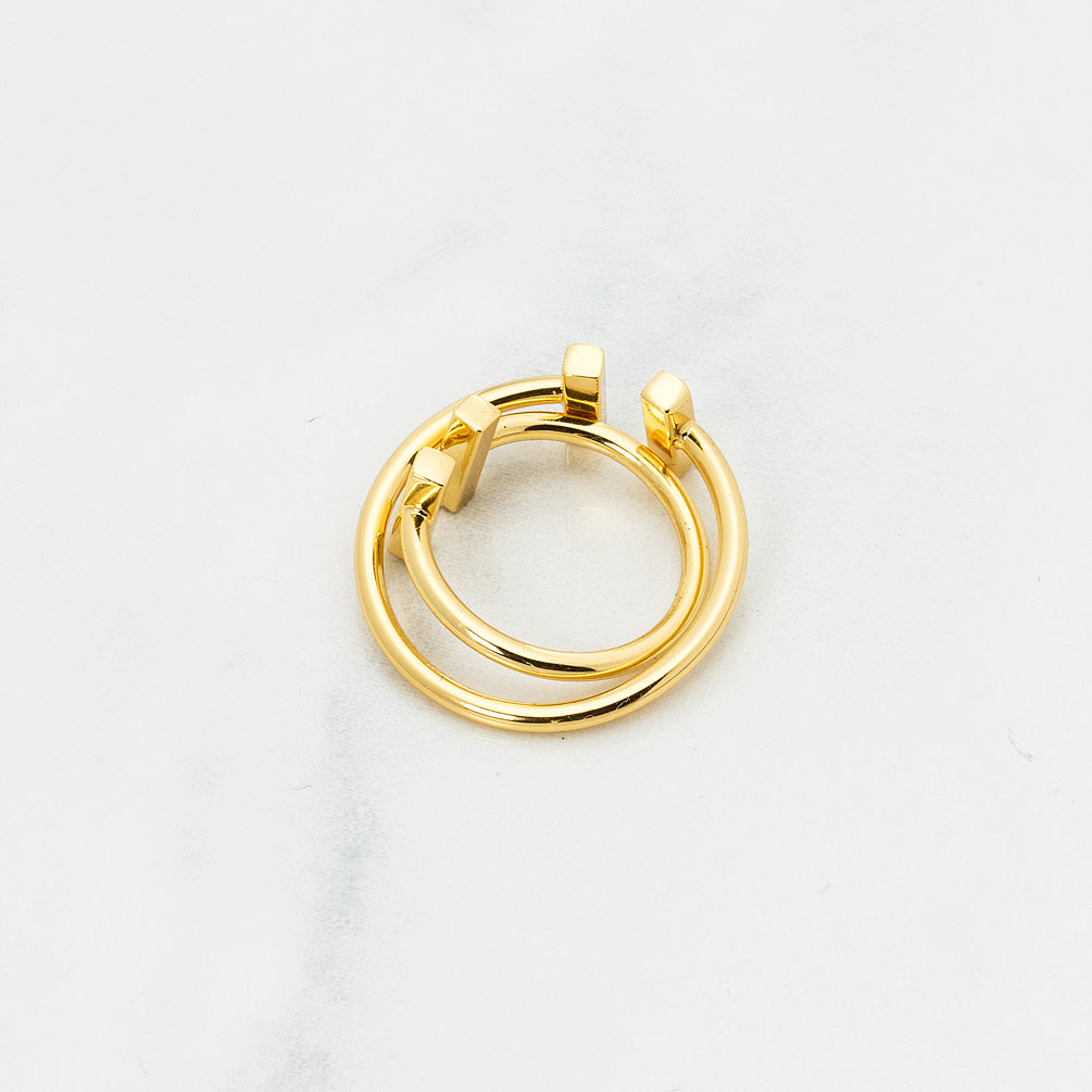 Gold Minimalist Ring with Bars