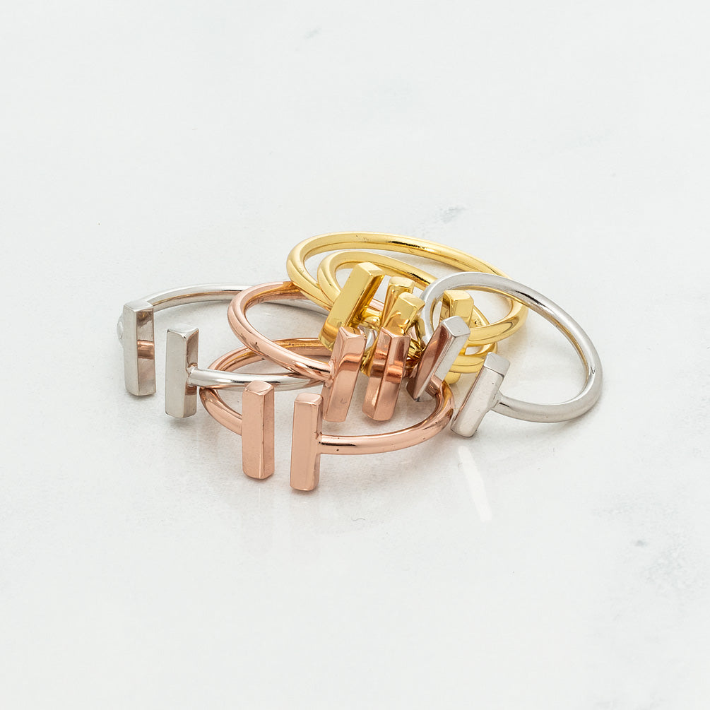 Rose Gold Minimalist Ring with Bars