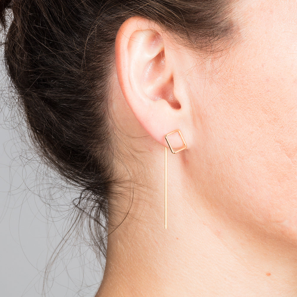 Gold Square earrings with Bars