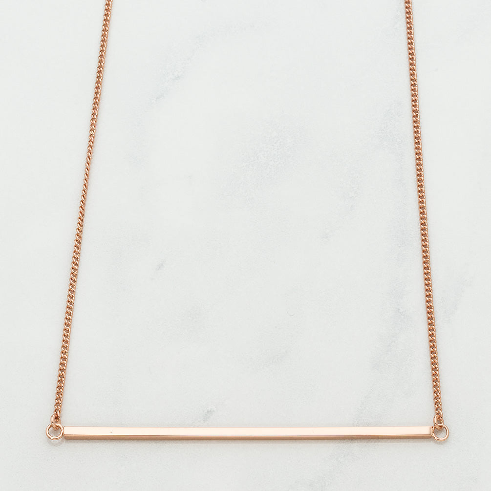 Girl Love Fund Bar Necklace Rose Gold