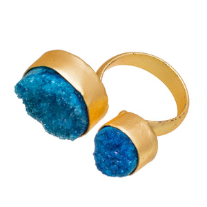 Turquoise Round Double Druzy Ring
