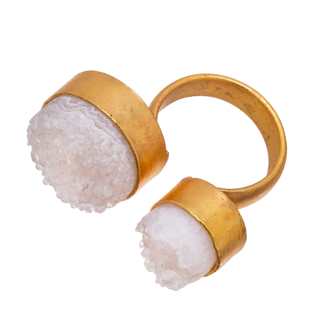 White Round Double Druzy Ring