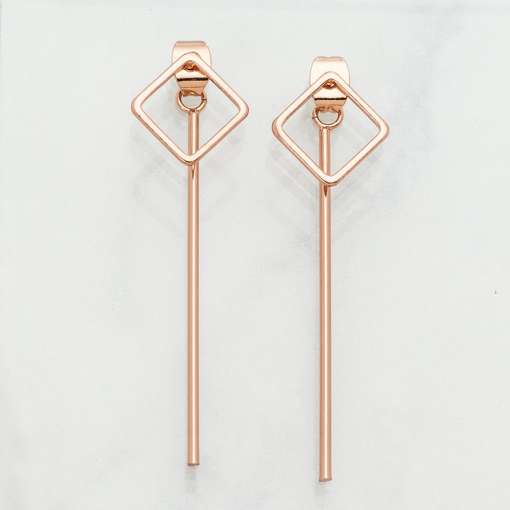Rose Gold Square earrings with Bars