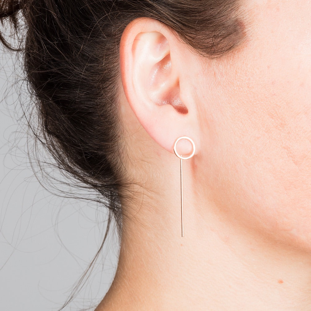 Rose Gold Round earrings with Bars