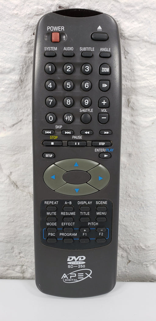 Apex SD-250 DVD Remote Control for AD500WM, K6II/350, PCSY325