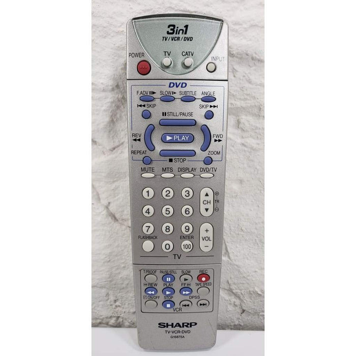 Sharp G1687SA TV/DVD/VCR Combo Remote for 27DV-CS10 27DV-S100 - Remote Control