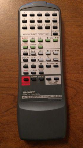 Sharp RRMCG0156AWSA CD MiniSystem Remote Control for MD-X60