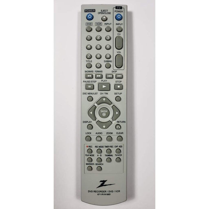Zenith 6711R1N189D DVD Recorder DVDR Remote Control - Remote Control