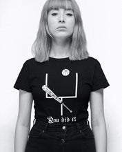 Female model wearing the You Did It - Funny Sports Unisex Black Tee - Sportsball Supply Co.
