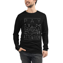 Male model wearing the Pay Attention - Funny Cool Sports Long Sleeve Black Shirt - Sportsball Supply Co.