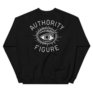 Authority Figure - Funny Ironic Black Sweatshirt with All-seeing Eye Design - Sportsball Supply Co.