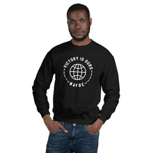 Male model wearing the Victory Is Ours Maybe - Black Sweatshirt - Funny Sports Shirt - Sportsball Supply Co.