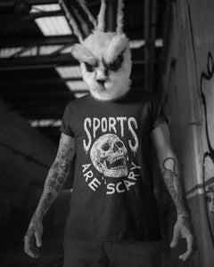 Model wearing the Sports Are Scary - Unisex Tee - Funny Sports T-Shirt - Sportsball Supply Co.