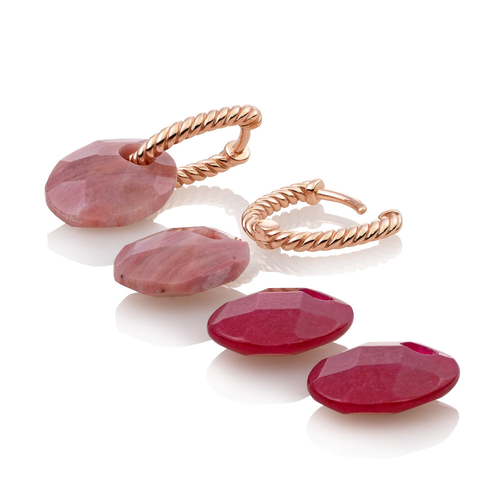 Twist Oorbellen set - Pink Rhodonite & Red Jade