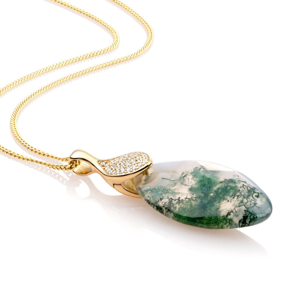 Leaf ketting set - Moss Agate