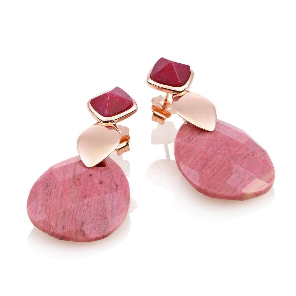 Edge Oorbellen set - Red Jade & Pink Rhodonite