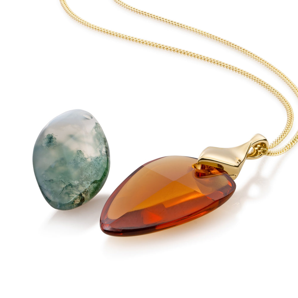 Edge ketting set - Citrine Quartz & Moss Agate