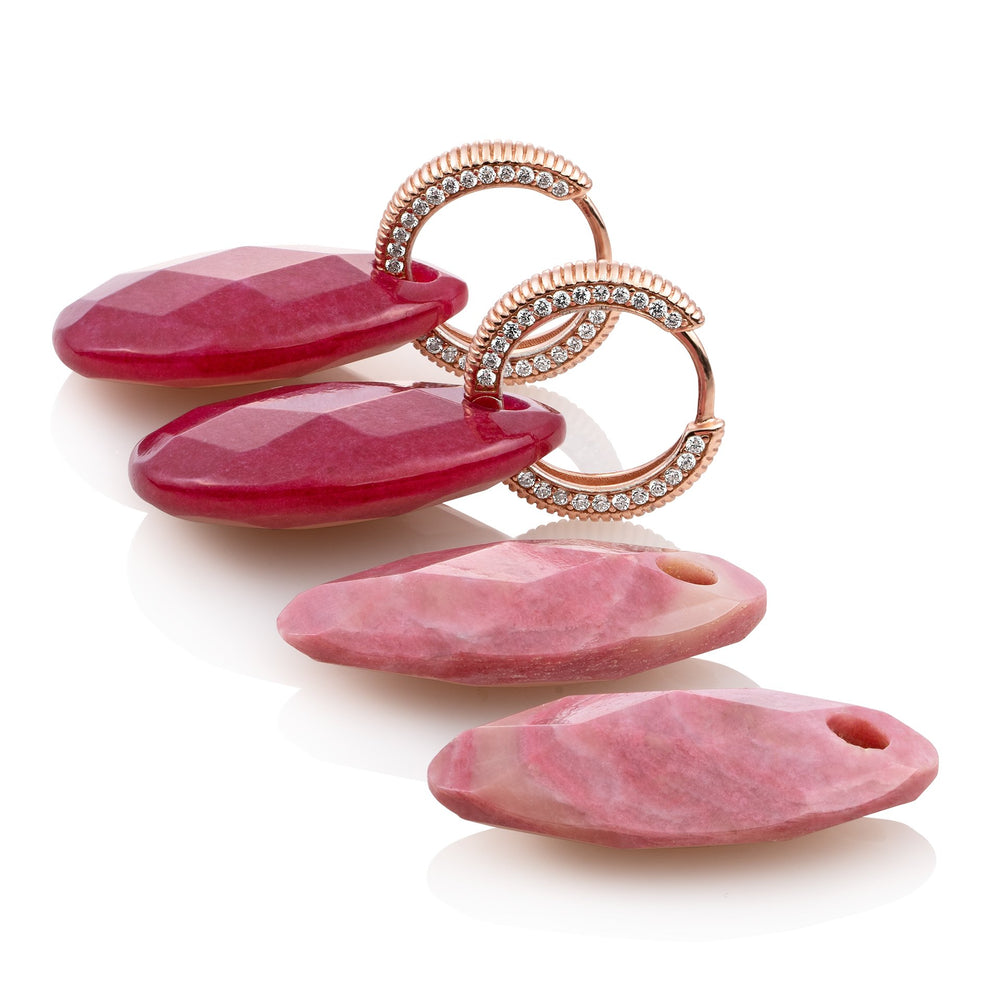 Oorbellen set - Red Jade & Pink Rhodonite