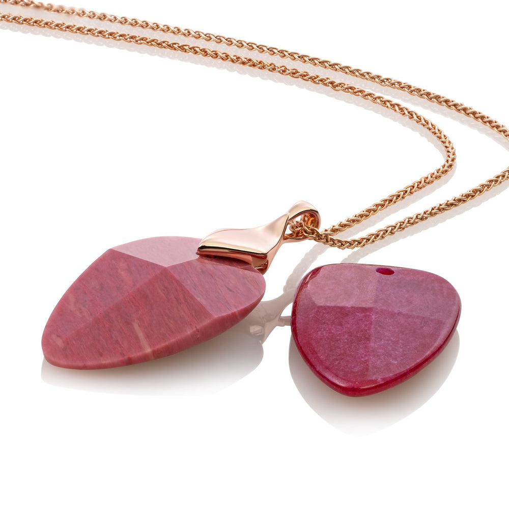 Edge ketting set - Pink Rhodonite & Red Jade