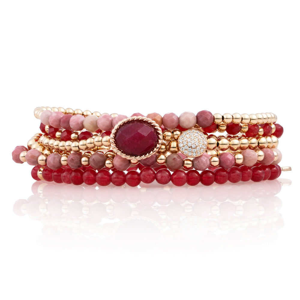 Armbanden stack - Red Jade & Pink Rhodonite