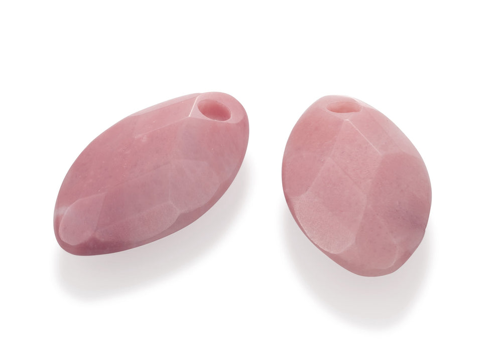 Earstones - Facet Leaf Pink Rhodonite Earleaf - small