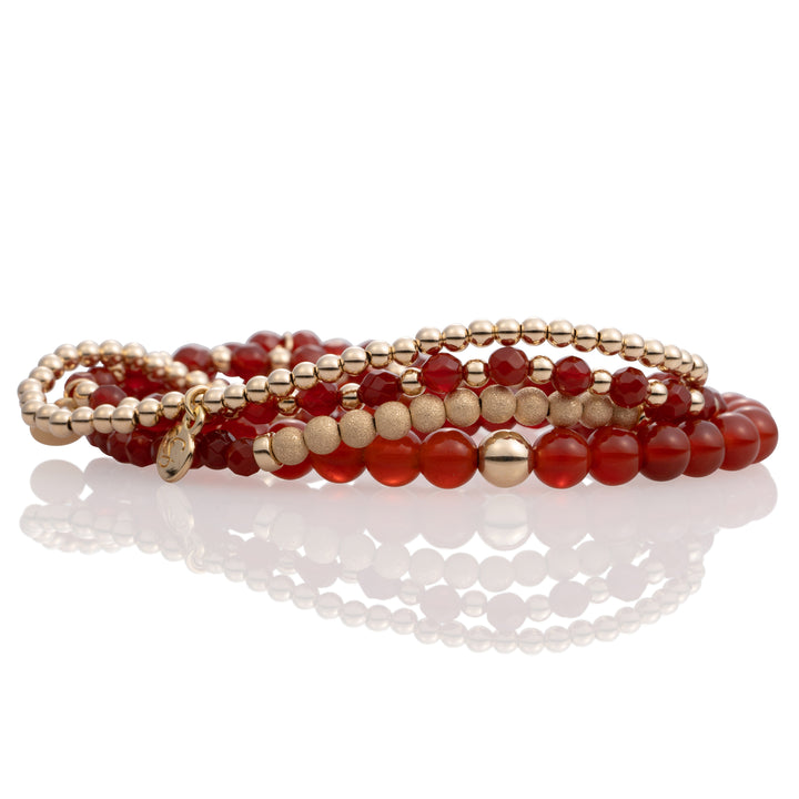 Red Agate bracelet stack