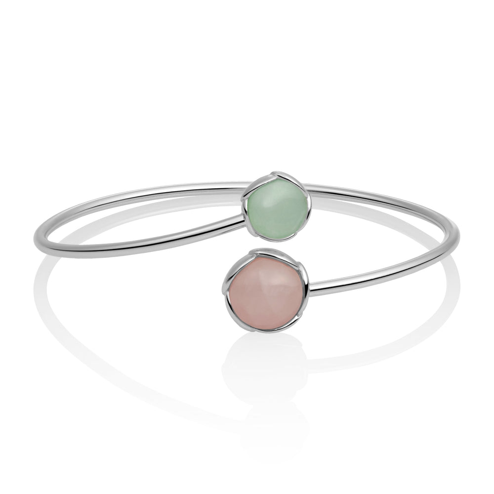 Blossom Bangle - Rose Quartz & Amazonite