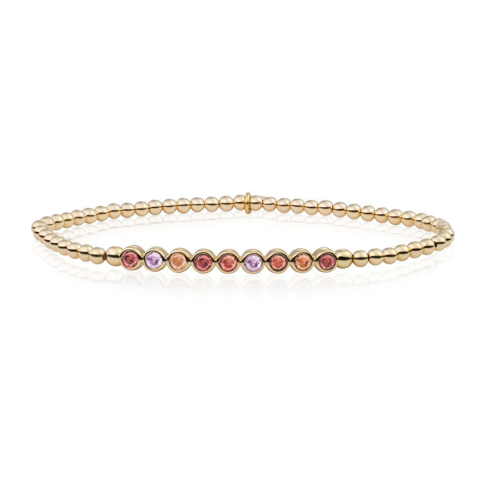 Red Flame, CZ Tube Bracelet - Goud