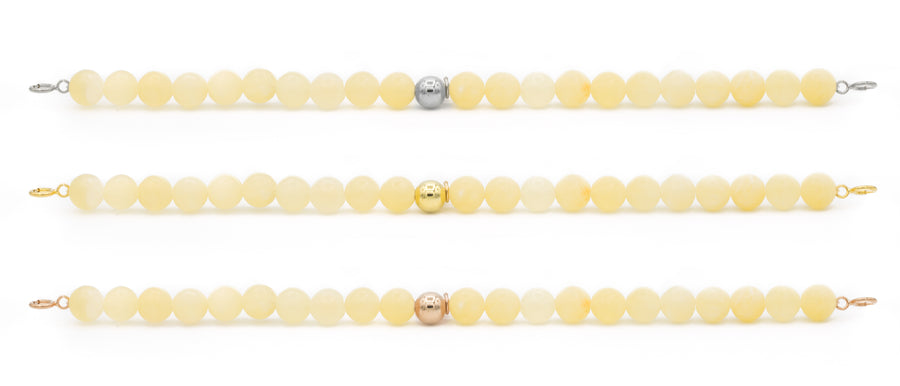 Yellow Calcite Orbit Bracelets with clasps - 6MM - Sparkling Jewels
