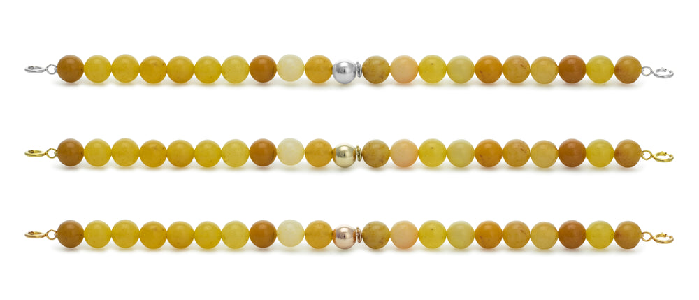 Yellow Jade Orbit Bracelets with clasps - 6MM - Sparkling Jewels