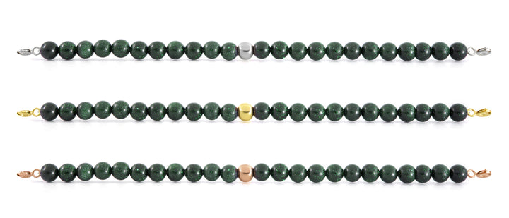 Goldstone Green Orbit Bracelet with Clasps - 6MM - Sparkling Jewels