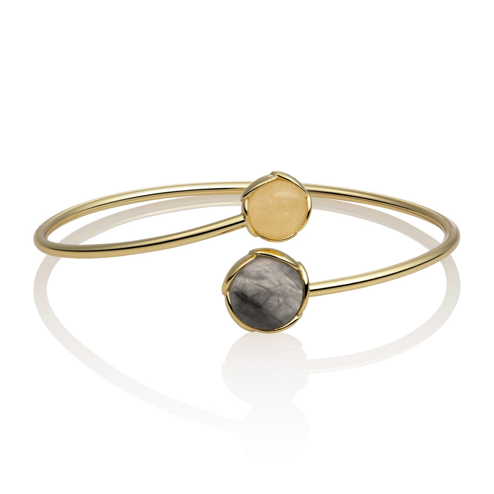 Blossom Bangle - Black Rutilated Quartz & Yellow Jade