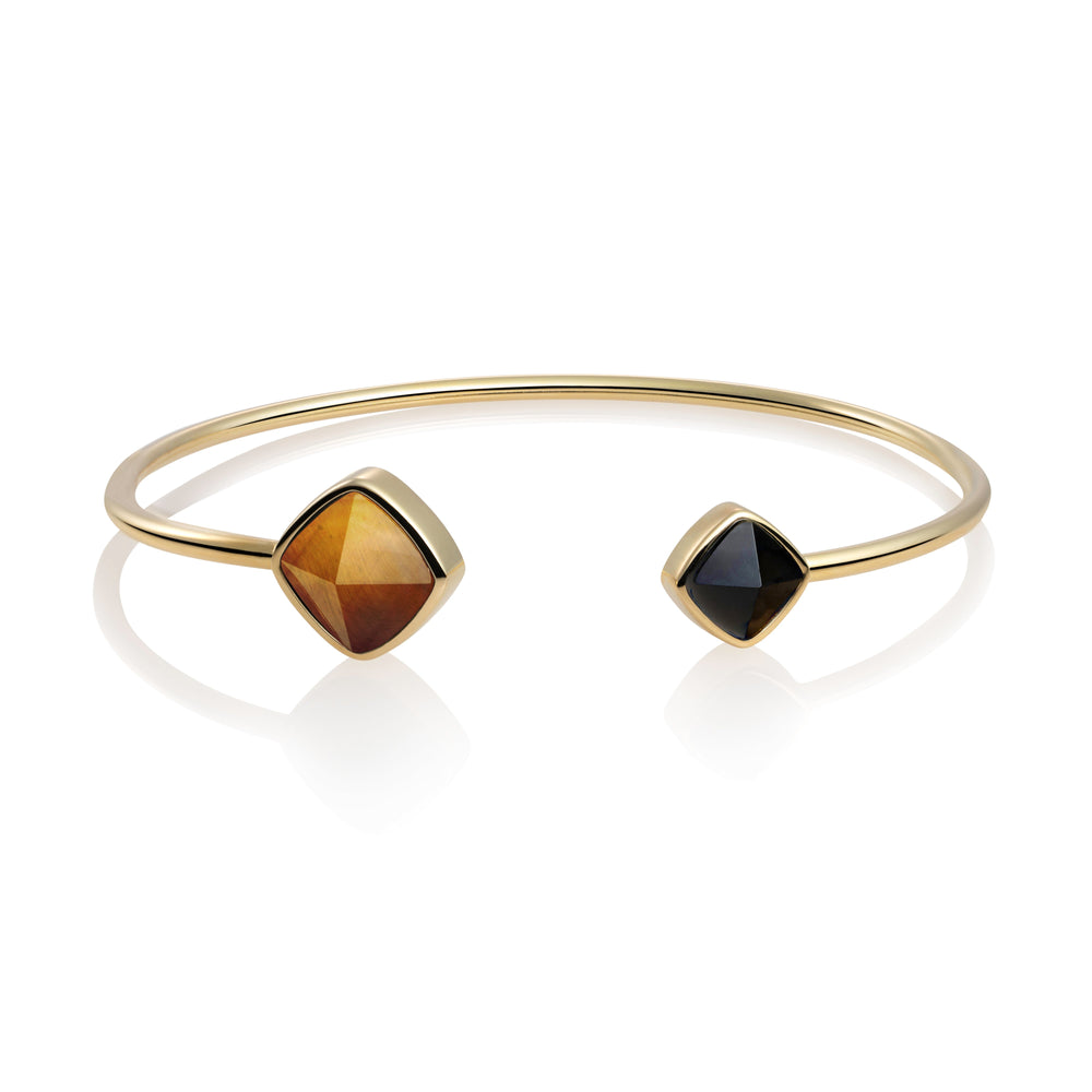 Edge Bangle - Tiger Eye & Onyx