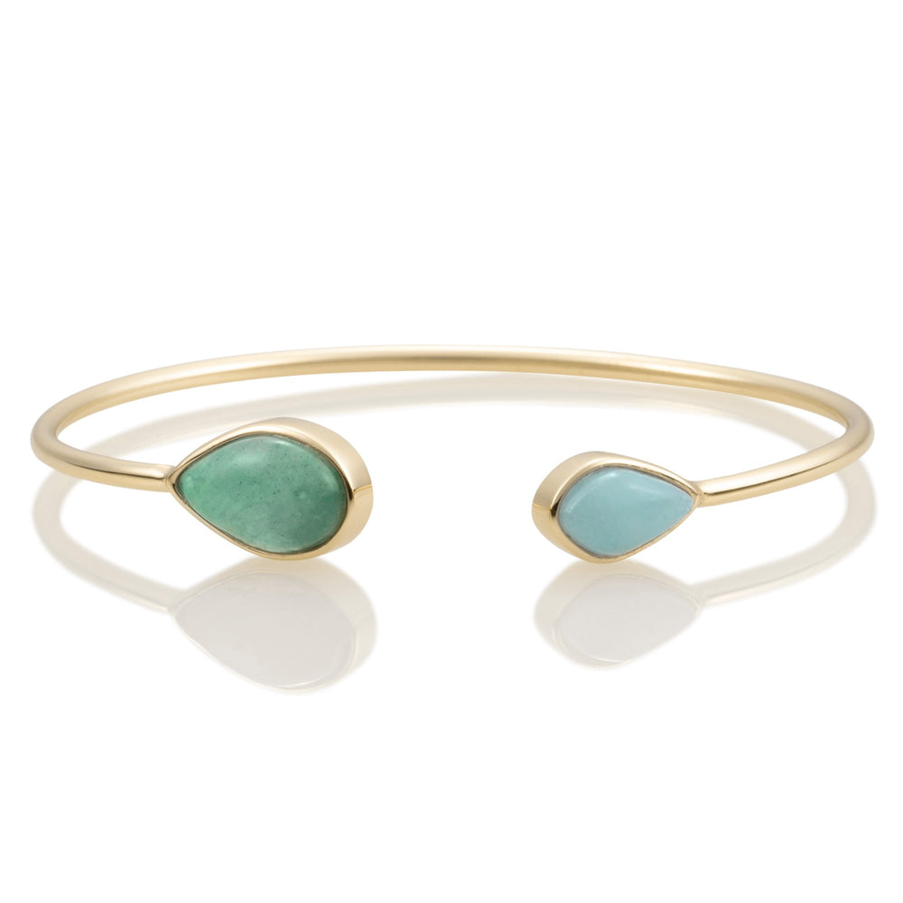 Leaf Bangle - Amazonite & Green Aventurine