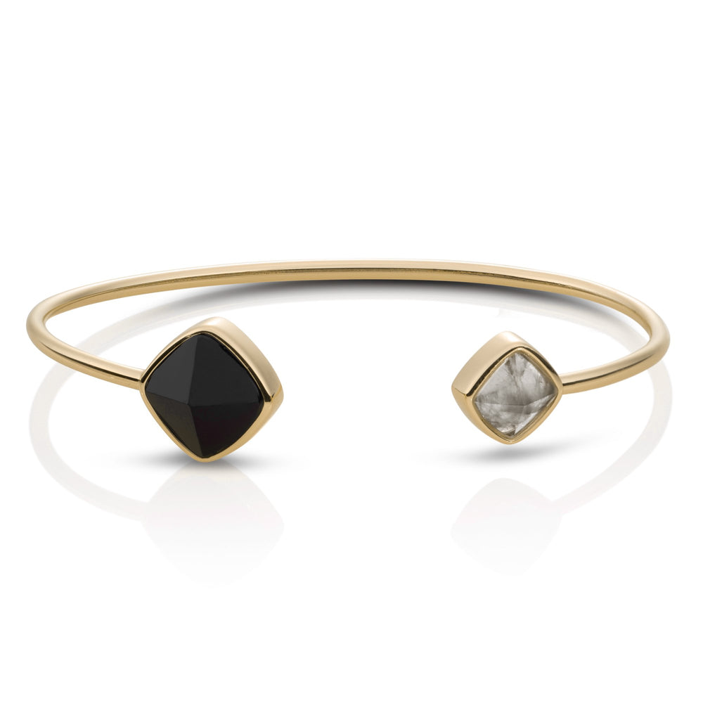 Edge Bangle - Onyx & Black Rutilated Quartz