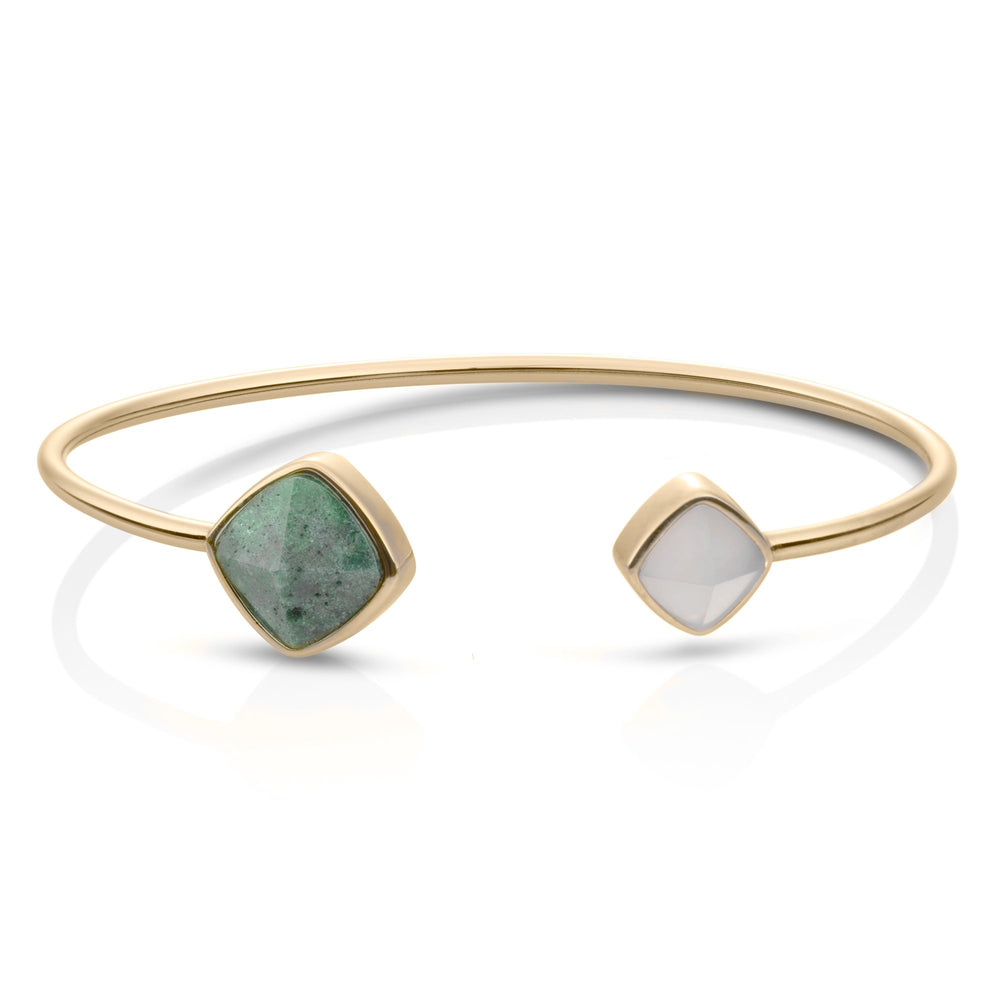 Edge Bangle - Moss Agate & Grey Agate