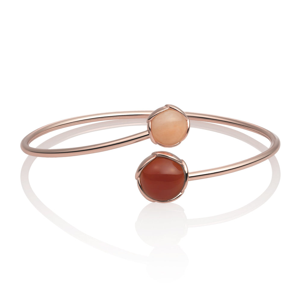 Blossom Bangle - Red Agate & Peach Rhodonite