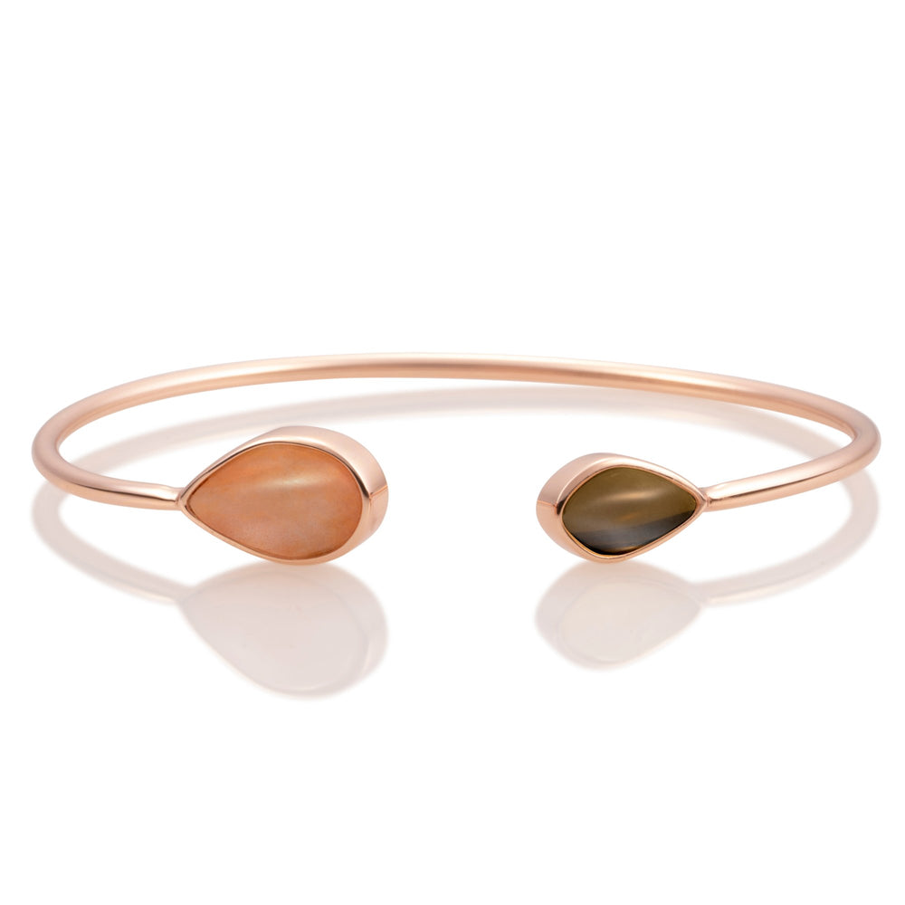Leaf Bangle - Peach Rhodonite & Smoky Quartz