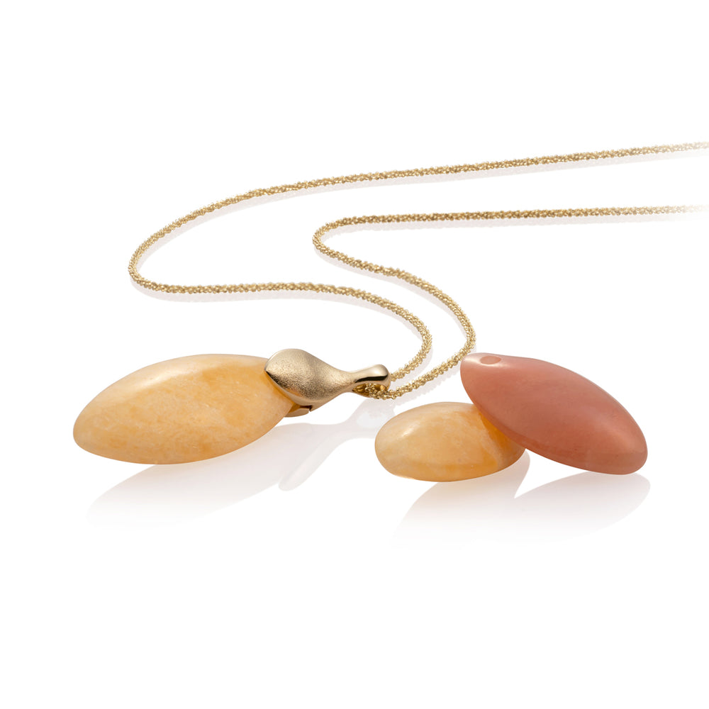 Leaf Ketting set - Yellow Jade & Peach Rhodonite