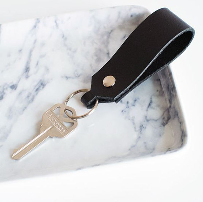 Leather embossing personalised initials corporate gifting keyrings