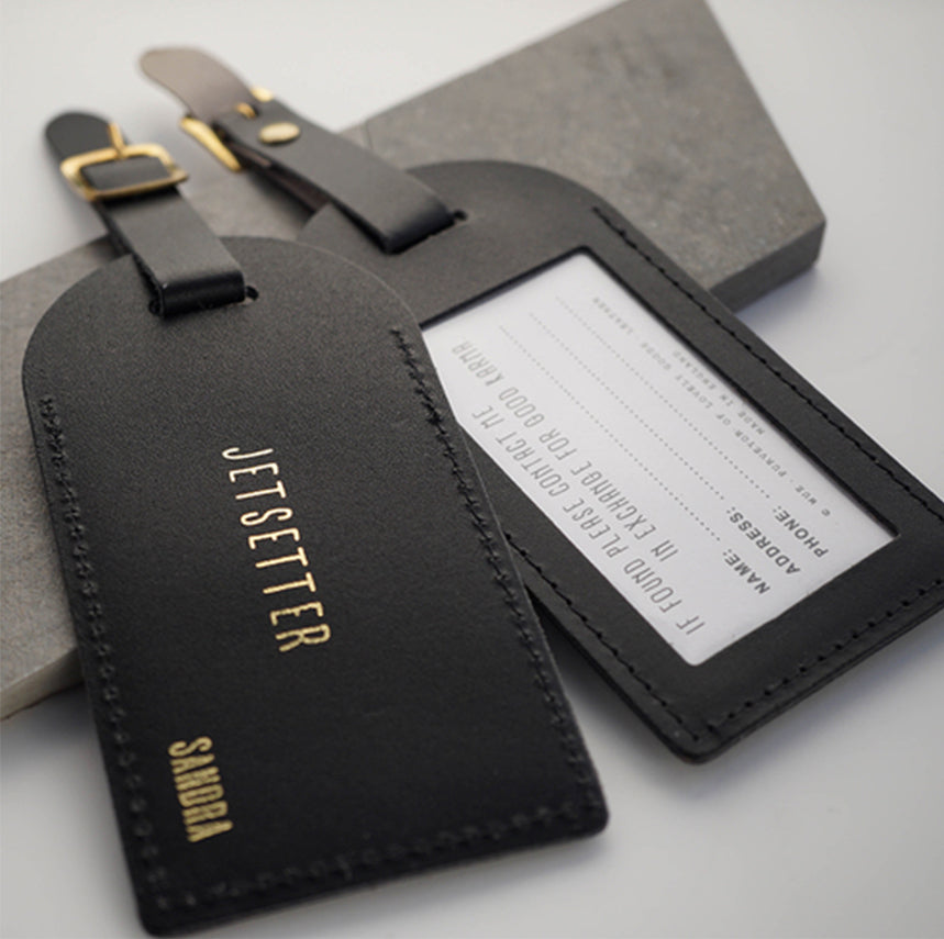 Leather embossing personalised initials corporate gifting leather luggage tags wedding