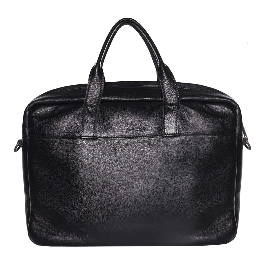 Brief - 15inch Leather Laptop Bag Work CHAPEL Black