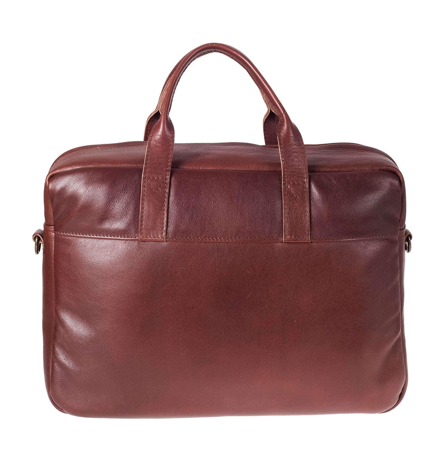 Brief - 15inch Leather Laptop Bag Work CHAPEL Brandy