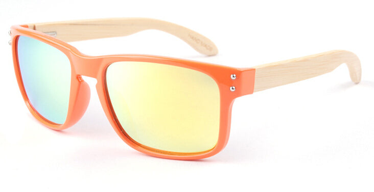 Wayfarer Women's Sunglasses With Orange Frames + Gold Mirror Lens - Bondi - Maybe Sunny