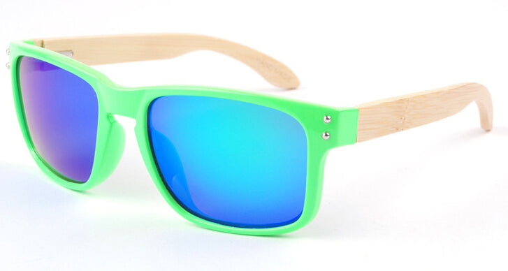 Wayfarer Women's Sunglasses With Green Frames + Azure Mirror Lens - Bondi - Maybe Sunny