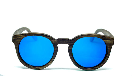 Round Sunglasses With Azure Mirror Lens - Navio - Maybe Sunny