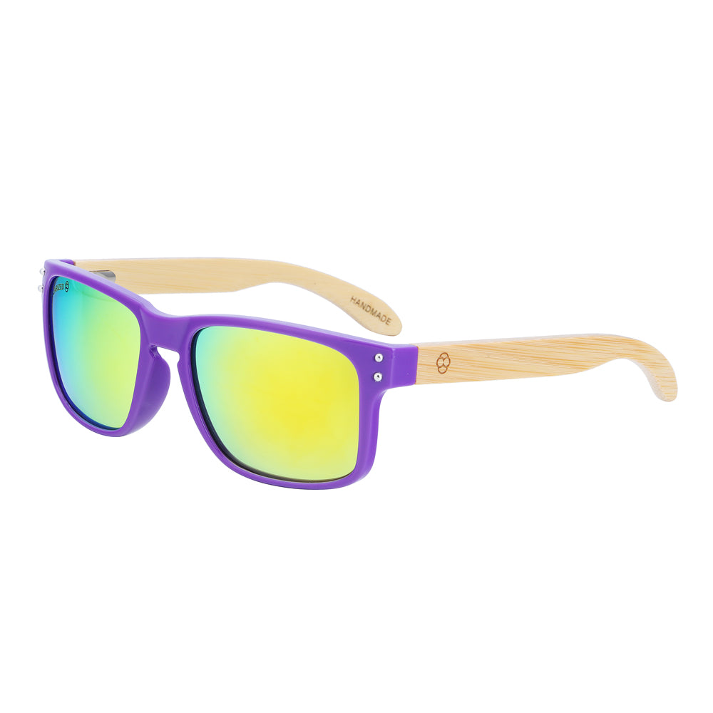 Wayfarer Women's Sunglasses With Violet Frames Gold Mirror Lens Bondi Side